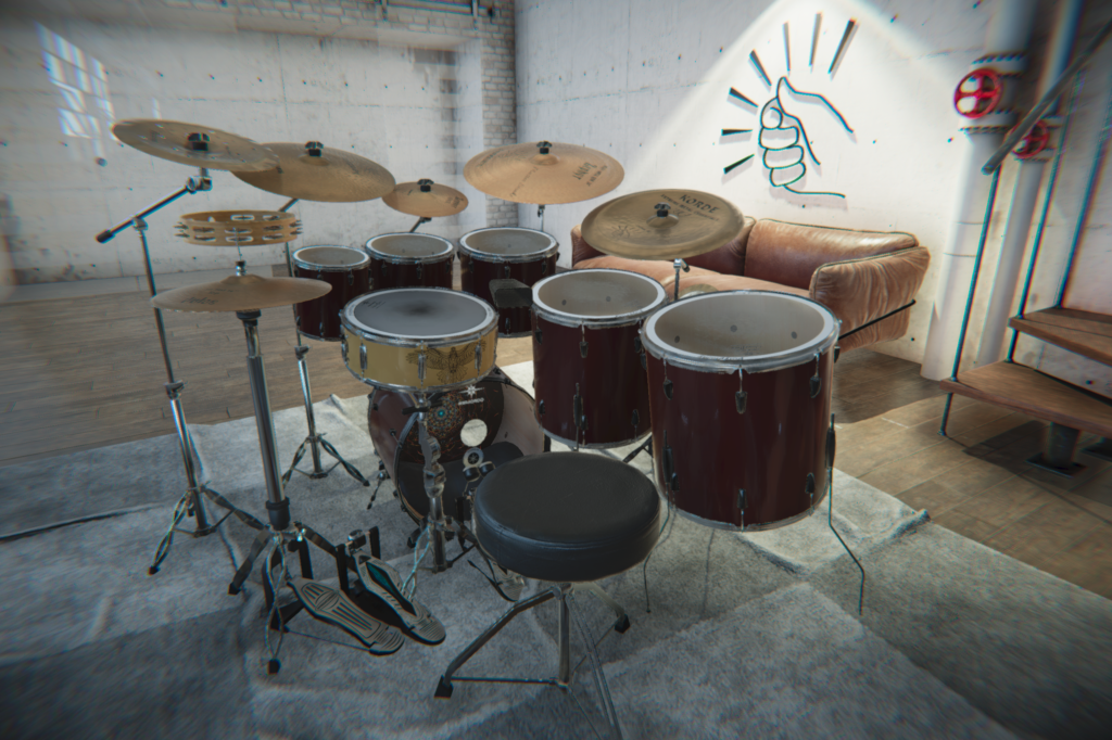 Aerodrums 3D drum set and logo